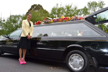 ellese-templeton-at-hearse-after-funeral-service